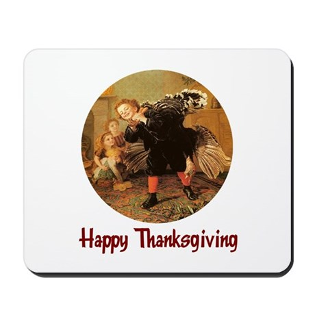 Boy and Thanksgiving Turkey Mousepad