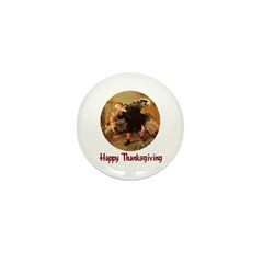 Boy and Thanksgiving Turkey Mini Button (10 pack)