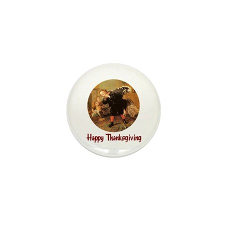 Boy and Thanksgiving Turkey Mini Button