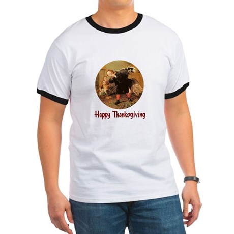 Boy and Thanksgiving Turkey Ringer T