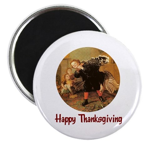 "Boy and Thanksgiving Turkey 2.25"" Magnet (100 pack"