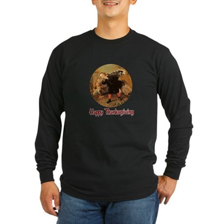 Boy and Thanksgiving Turkey Long Sleeve Dark T-Shi