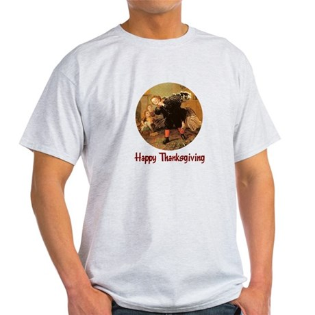 Boy and Thanksgiving Turkey Light T-Shirt
