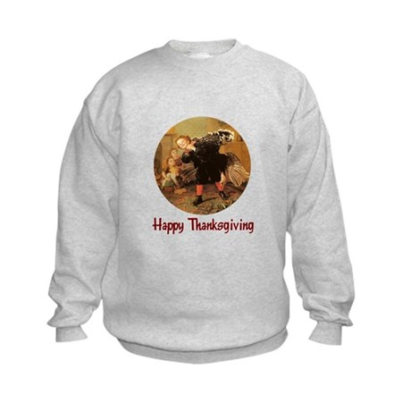 Boy and Thanksgiving Turkey Kids Sweatshirt
