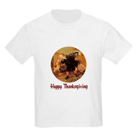 Boy and Thanksgiving Turkey Kids Light T-Shirt