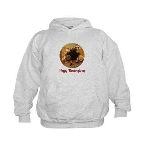 Boy and Thanksgiving Turkey Kids Hoodie