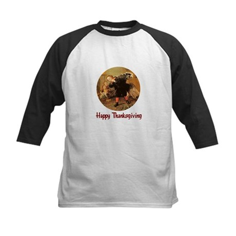 Boy and Thanksgiving Turkey Kids Baseball Jersey