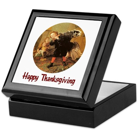 Boy and Thanksgiving Turkey Keepsake Box