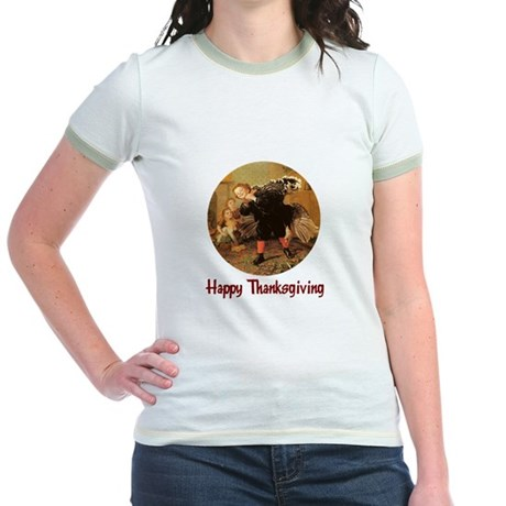 Boy and Thanksgiving Turkey Jr. Ringer T-Shirt