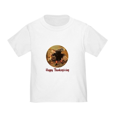 Boy and Thanksgiving Turkey Toddler T-Shirt