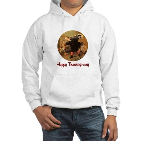 Boy and Thanksgiving Turkey Hooded Sweatshirt