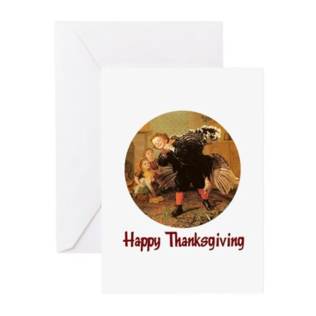 Boy and Thanksgiving Turkey Greeting Cards (Pk of