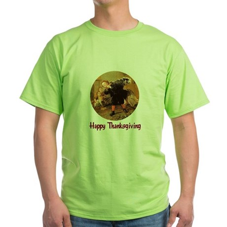 Boy and Thanksgiving Turkey Green T-Shirt