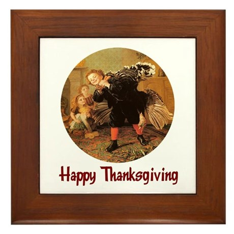 Boy and Thanksgiving Turkey Framed Tile