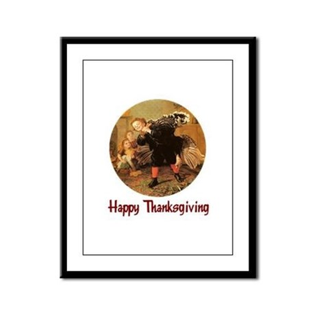 Boy and Thanksgiving Turkey Framed Panel Print