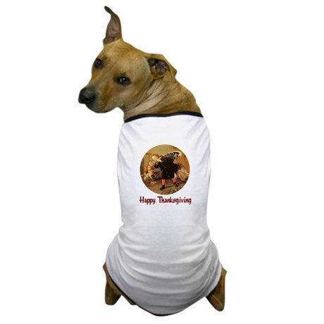 Boy and Thanksgiving Turkey Dog T-Shirt