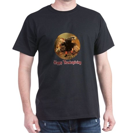 Boy and Thanksgiving Turkey Dark T-Shirt