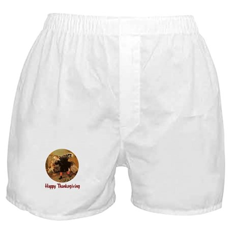 Boy and Thanksgiving Turkey Boxer Shorts