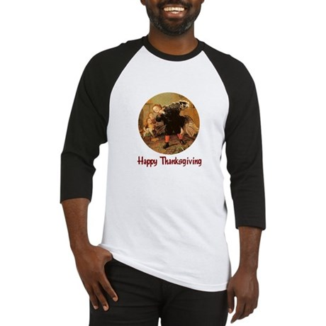 Boy and Thanksgiving Turkey Baseball Jersey