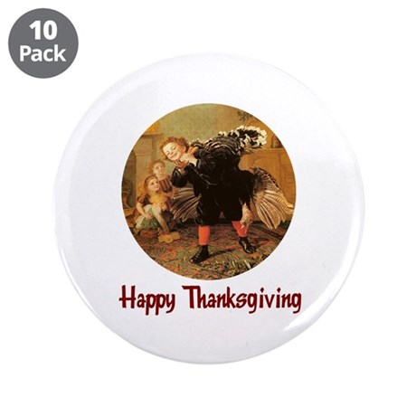 "Boy and Thanksgiving Turkey 3.5"" Button (10 pack)"