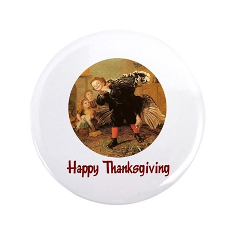 "Boy and Thanksgiving Turkey 3.5"" Button"