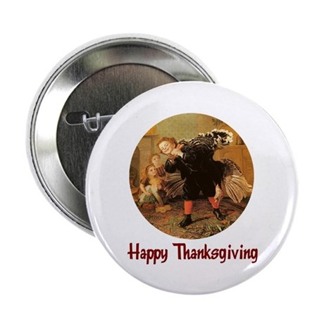 "Boy and Thanksgiving Turkey 2.25"" Button"