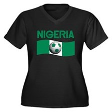 TEAM NIGERIA Women's Plus Size V-Neck Dark T-Shirt