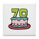 70th Birthday Cake Tile Coaster