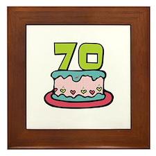 70th Birthday Cake Framed Tile