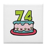 74th Birthday Cake Tile Coaster
