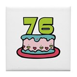 76th Birthday Cake Tile Coaster