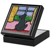 Black Lab at Window Keepsake Box