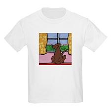 Chocolate Lab at Window T-Shirt