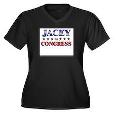 JACEY for congress Women's Plus Size V-Neck Dark T