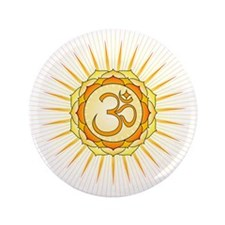 "Om Lotus Sunburst 3.5"" Button"