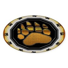 BEAR PAW IN BEAR PRIDE DESIGN Oval Decal