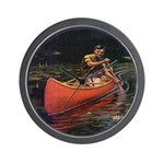Solo Canoer  Wall Clock