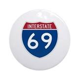 Interstate 69 Ornament (Round)