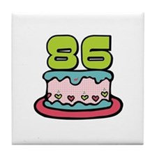 86th Birthday Cake Tile Coaster