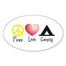 Peace, Love, Camping Oval Decal