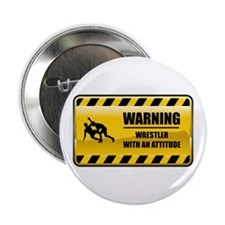 "Warning Wrestler 2.25"" Button"