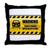 Warning Truck Driver Throw Pillow