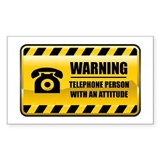 Warning Telephone Person Rectangle Decal