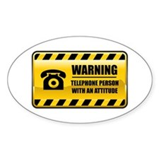 Warning Telephone Person Oval Decal