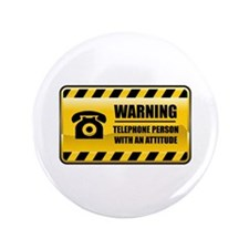 "Warning Telephone Person 3.5"" Button"