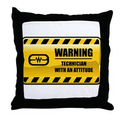 Warning Technician Throw Pillow