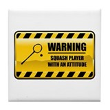 Warning Squash Player Tile Coaster