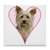 Heart Yorkie -  Tile Coaster