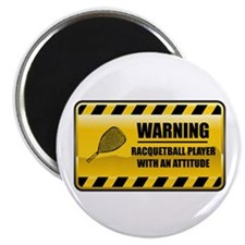 "Warning Racquetball Player 2.25"" Magnet (100"