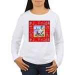 Snowman Vacationing At Beach Women's Long Sleeve T